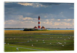Acrylic glass  Lighthouse Westerhever, cumulus clouds, salt meadow, watts, sheep - Rainer Mirau