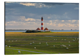 Aluminium print  Lighthouse Westerhever, cumulus clouds, salt meadow, watts, sheep - Rainer Mirau