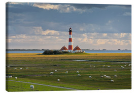 Canvas  Lighthouse Westerhever, cumulus clouds, salt meadow, watts, sheep - Rainer Mirau