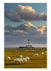 Premium poster  Lighthouse Westerhever, Cumulus clouds - Rainer Mirau