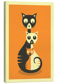 Canvas print  THREE CATS - Jazzberry Blue