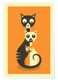 Premium poster  THREE CATS - Jazzberry Blue