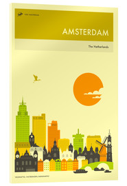 Acrylic glass  AMSTERDAM TRAVEL POSTER - Jazzberry Blue