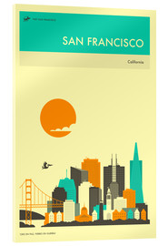 Acrylic glass  SAN FRANCISCO TRAVEL POSTER - Jazzberry Blue