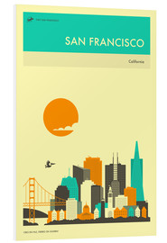 Foam board print  SAN FRANCISCO TRAVEL POSTER - Jazzberry Blue