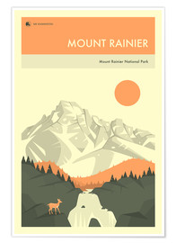 Premium poster  MOUNT RAINIER NATIONAL PARK POSTER - Jazzberry Blue