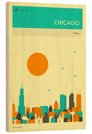 Wood print  Chicago - Jazzberry Blue
