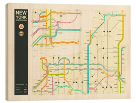 Wood print  NEW YORK STATE HIGHWAY MAP - Jazzberry Blue