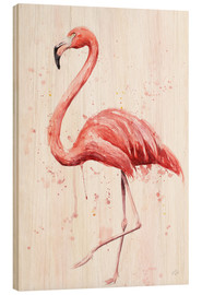 Wood print  Flamingo - Nadine Conrad