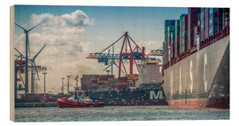 Wood print  Fish market, port, container terminal - Ingo Boelter