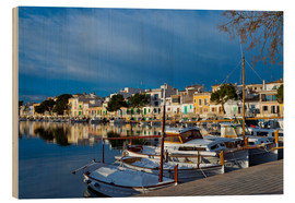 Wood print  Fishing village Porto Colom - Chris Seba