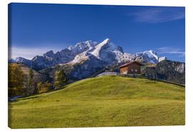 Canvas print  Eckbauer Alm on the Zugspitze massif - Udo Siebig
