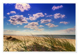 Premium poster Blue sky with clouds on Texel