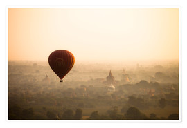 Premium poster Aerial view of the balloon over the ancient temples in Myanmar