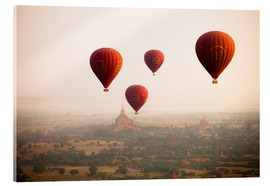 Acrylic print  Aerial view of balloons over the ancient temples in Myanmar - Harry Marx