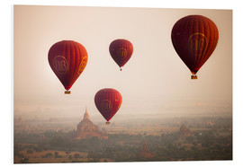 Foam board print  Aerial view of balloons over the ancient temples in Myanmar - Harry Marx