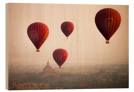Wood print  Aerial view of balloons over the ancient temples in Myanmar - Harry Marx