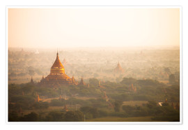 Premium poster Aerial view of the ancient temples in Myanmar