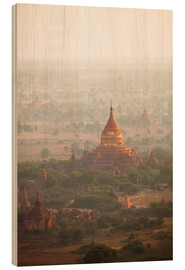 Wood print  Aerial view of the ancient temples in Myanmar - Harry Marx