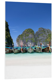 Foam board print  Longboats in Maya Bay at Koh Phi Phi Leh, Thailand - Harry Marx