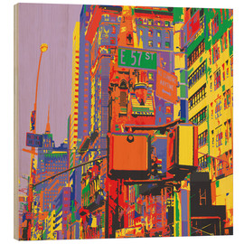 Wood print  Pop Art New York City - Jaysanstudio