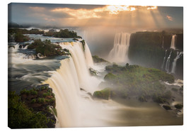 Canvas  Iguazu falls waterfall at sunset. - Alex Saberi