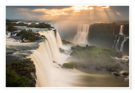 Premium poster  Sunset at Iguazu Falls - Alex Saberi