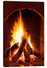 Canvas print  Wood in the fireplace