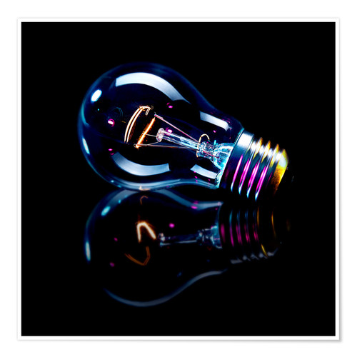 Premium poster Lightbulb with Reflection