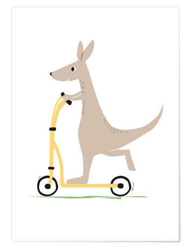 Premium poster Kangaroo with scooter