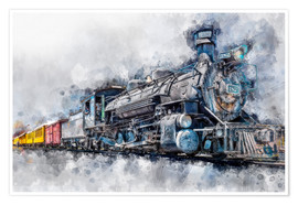 Premium poster Steam locomotive Durango and Silverton Narrow Gauge Railroad - Colorado - USA