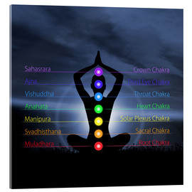 Acrylic glass  Chakras with silhouette