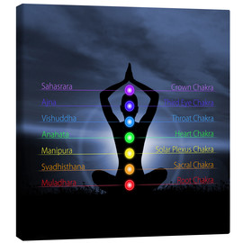 Canvas print  Chakras with silhouette