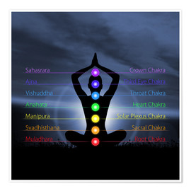 Poster  Chakras with silhouette