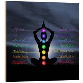 Wood  Chakras with silhouette