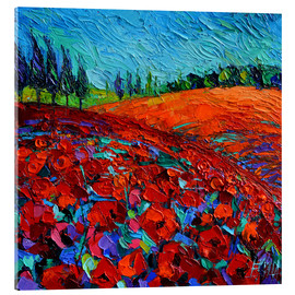 Acrylic glass  Field of poppies - Mona Edulesco