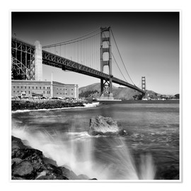 Poster  Golden Gate Bridge with breakers - Melanie Viola