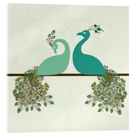 Acrylic print  two peacocks