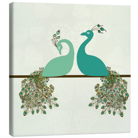 Canvas print  two peacocks