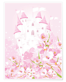 Poster Pink fairy tale castle