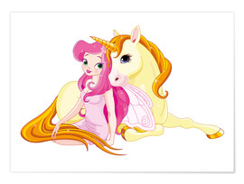 Premium poster  Elf and Unicorn - Kidz Collection