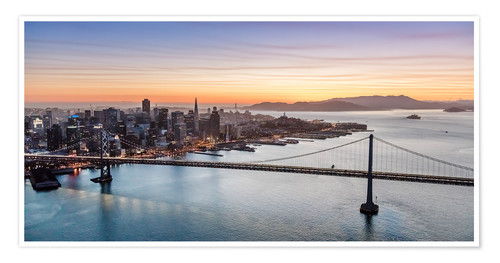 Premium poster Aerial view of San Francisco at sunset, USA