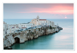 Premium poster Sunset over old town, Vieste, Apulia