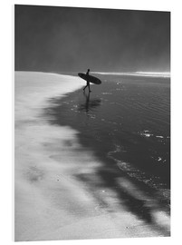 Foam board print  A lone surfer on his way into the sea. - Alex Saberi