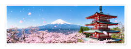 Premium poster Chureito pagoda with Mount Fuji in the spring, Fujiyoshida, Japan
