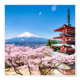 Poster Chureito Pagoda and Mount Fuji in spring, Fujiyoshida, Japan