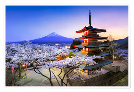 Premium poster Chureito Pagoda and Mount Fuji in spring, Fujiyoshida, Japan