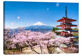 Canvas print  Chureito Pagoda and Mount Fuji in spring, Japan - Jan Christopher Becke