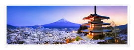 Poster Chureito pagoda with Mount Fuji in spring, Fujiyoshida, Japan