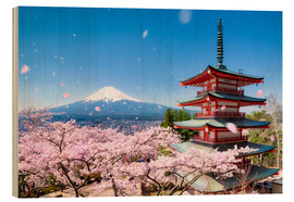 Wood  Chureito Pagoda and Mount Fuji in spring, Fujiyoshida, Japan - Jan Christopher Becke